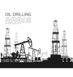 Drilling rigs and oil pumps isolated on white vector image
