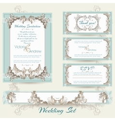 Wedding collection in mint color vector