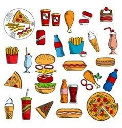 Sketches of fast food and desserts vector