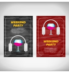 Weekend party leaflet with wine glass vector