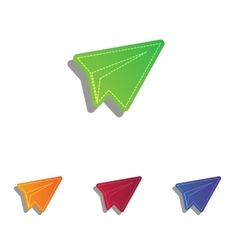 Paper airplane sign colorfull applique icons set vector