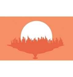 Beautiful silhouette city and big moon vector