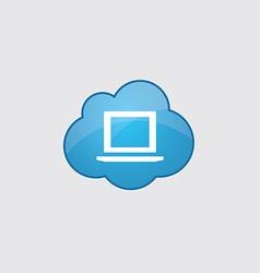 Blue cloud laptop icon vector image