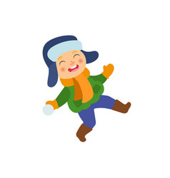 boy having fun with snoball isolated vector image