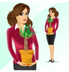 Business woman holding yucca plant vector