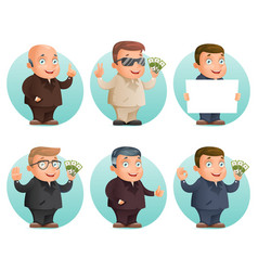 businessman mascot professional hand gestures vector image vector image