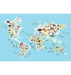 Cartoon animal world map for children and kids vector image vector image