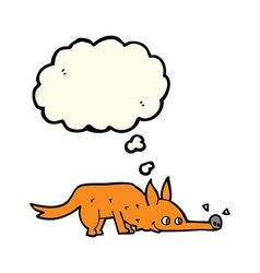 Cartoon fox sniffing floor with thought bubble vector