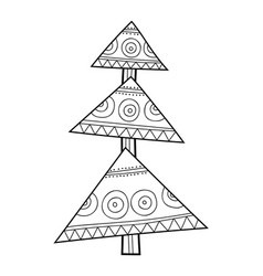 christmas tree with decorative patterns black and vector image