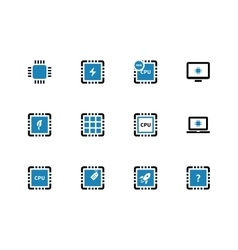 Computer microchip cpu duotone icons on white vector