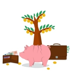 Concept money saving - pig tree vector image