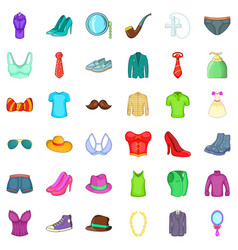 Different clothes icons set cartoon style vector