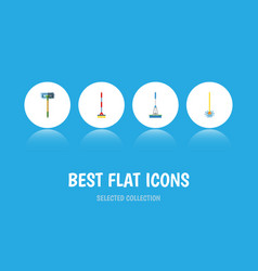 Flat icon cleaner set of cleaning sweep vector