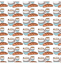 Fresh bread with cup of coffee background icon vector