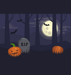 Full moon halloween night dark spooky graveyard vector
