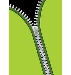 Green material background with metal zip and copys vector