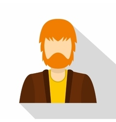 Haired man with beard icon flat style vector image