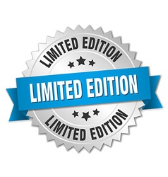 Limited edition 3d silver badge with blue ribbon vector