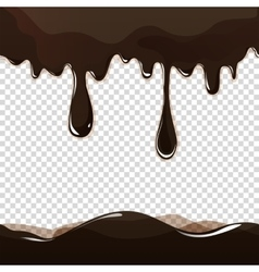 Melted chocolate dripping set on white background vector
