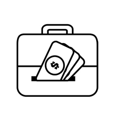 money briefcase document business line vector image