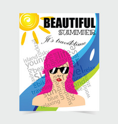 Poster for summer travel with woman head design vector