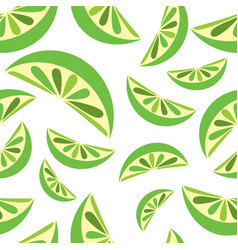 Seamless background with green lime slices tile vector