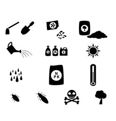 Set of cultivation icons in silhouette style vector
