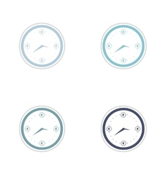 Set of paper stickers on white background time is vector