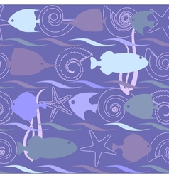 Shells and fish seamless pattern vector image vector image