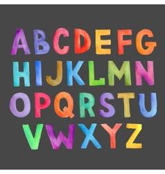 Watercolor colorful handwritten alphabet vector