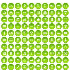 100 car icons set green circle vector