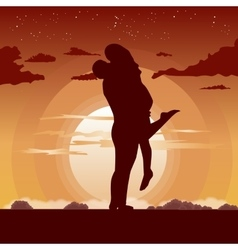 Silhouette of loving couple in hug at sunset vector