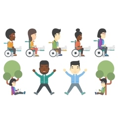 Set of patients and business characters vector