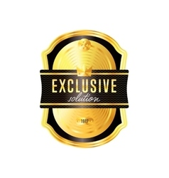 Gold badge with black text isolated vector