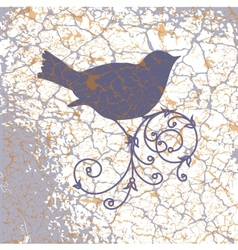 Ornamental bird on grunge background vector