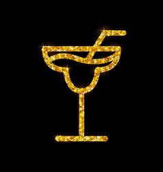 Golden cocktail flat icon margarita vector