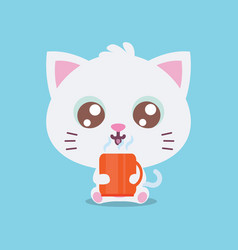 Character cat with cooffe collection vector