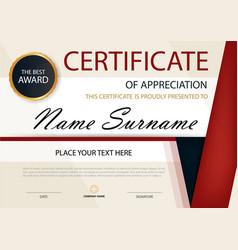 Red black elegance horizontal certificate template vector