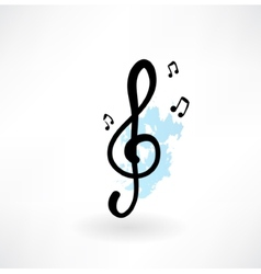 Treble clef grunge icon vector