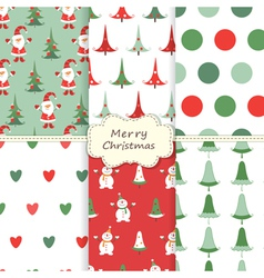 Set of christmas seamless patterns 2 vector