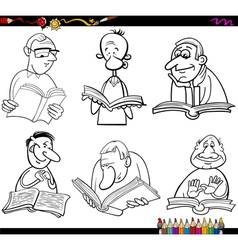 Readers set cartoon coloring page vector