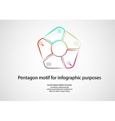 Pentagon infographic consits of lines on light vector
