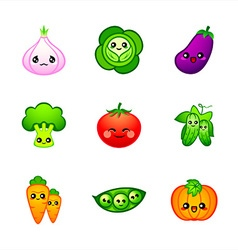 Cute vegetables vector image