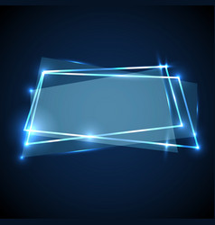 Abstract background with blue neon banner vector