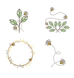 Bee logo design set vector