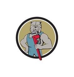 Bulldog Plumber Monkey Wrench Circle Cartoon vector image