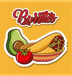 burritos in bowl avocado and tomato mexican food vector image