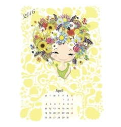 Calendar 2016 april month Season girls design vector image vector image