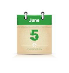 Calendar page 5 june world environment day ecology vector