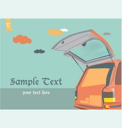 car open door on sky vintage background vector image vector image